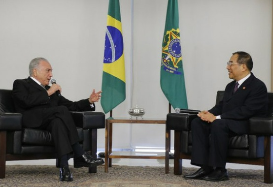 Temer discusses Brazil-China cooperation with Chinese officials